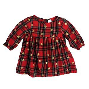 Old Navy Plaid Flannel Gold Dot Dress